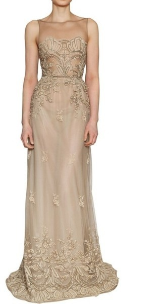are you ballsy enough to wear beige instead of white? luisa beccaria lace on silk tulle long dress in beige