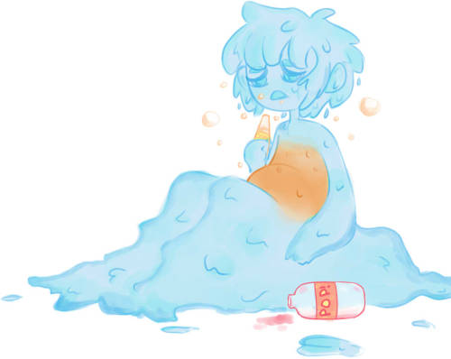tentaclesmadeofmilk asked for: A goo boy..? Who's.. Been drinking.. Like.. Soda and.. There's alot of bubbles in his tummy??