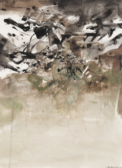 Zhao Wuji 赵无极 - Untitled. Ink and color on paper, 68x53 cm (1974)