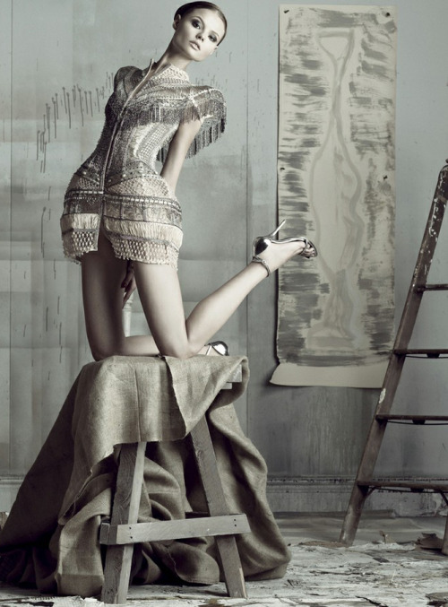 fromobscuretodemure:  Magdalena Frackowiak in Jean Paul Gaultier Haute Couture, photographed by Tom Munro for Vogue Russia May 2009.