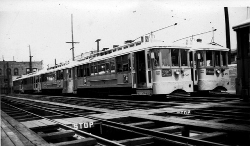 056 LATL 452-448 N Line Div. 4 Georgia St. Car House 19480619 AKW on Flickr. Photographer: Alan Weeks Los Angeles Transit Lines streetcars no.452 and no.448 at the Division 4 car house on Georgia Street. June 19, 1948.