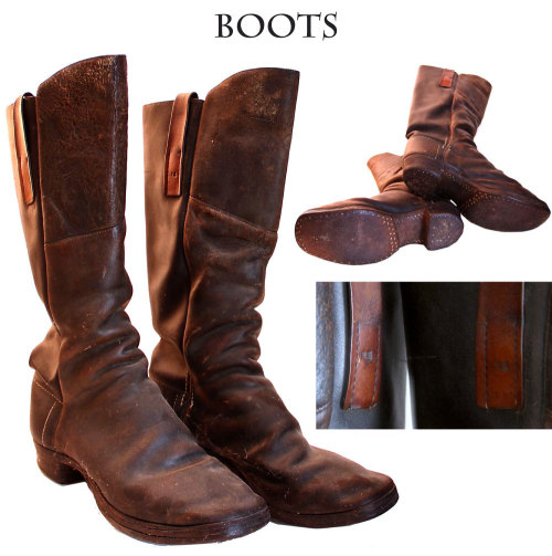 "Rare ""US"" marked Civil War boots: Typical 1860s boots made with side seams and one piece fronts. The fronts are augmented with a grafted extension that reaches the knee and makes the front higher than the rear. This is the style used by mounted men in the cavalry and artillery. Has classic square toes, pegged soles, and nailed heels. Leather pulls sewn on each side of uppers, brown in tone from a different tanning process.  via Dave Taylor's Civil War Antiques"