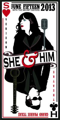 jungleindierock:  She & Him / The Secret Sisters gig poster by Cory Jensen