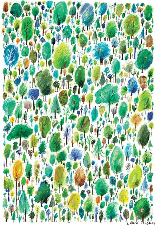 alovelycuppa:  500 Trees by Laura Hughes (See here for gif of the process!) She's selling A3 giclée prints for £30, email her at hug.laura@gmail.com for one.