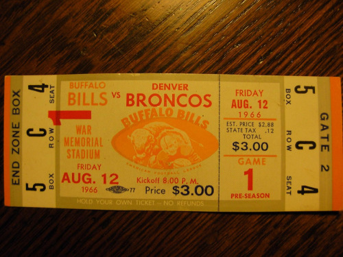Vintage Buffalo Bills Ticket (by tonyolm)