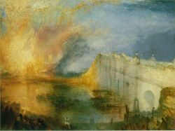 british-history:  Fire Ravages the Palace of Westminster16 October 1834The Palace of Westminster was almost completely destroyed by fire on this day in British history, 16 October 1834. The blaze, which started from overheated chimney flues, spread rapidly throughout the medieval complex and developed into the biggest conflagration to occur in London since the Great Fire of 1666. Westminster Hall and a few other parts of the old Houses of Parliament survived the blaze and were incorporated into the New Palace of Westminster. The painting above was done by J. M. W. Turner, a British Romantic landscape painter who witnessed the blaze.