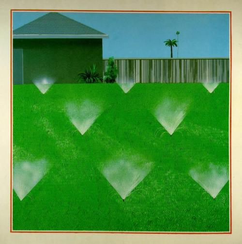 hnnhmcgrth:  david hockney (1967) a lawn being sprinkled
