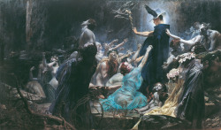 noiseman:  Die Seelen des Acheron (The Souls of Acheron) by Adolf Hirémy-Hirschl, 1898.   i love the shades of grey blue and all the flowers, signifiers of death