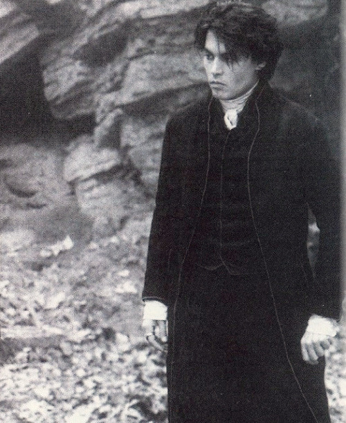 Johnny Depp on set of Sleepy Hollow, 1999.