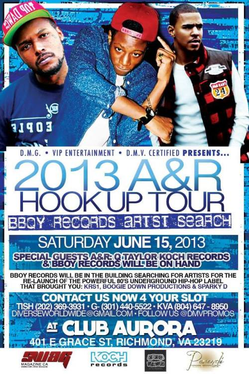 INDIE Artist Opportunity: 2013 A&R Hookup Tour, Saturday, June 15th in Richmond, Virginia! See flyer for details.