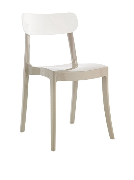 "Domitalia New Retro Chair, Taupe/White  Suitable for indoor and outdoor use, made from recyclable materials in an ecologically sound process, stackable Material type: Polycarbonate Country of origin: Italy Authentic product  Item Dimensions: height 32"", width 18.25"", depth 21"" Price: $159"