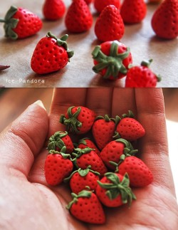 truebluemeandyou:  DIY Polymer Clay Strawberry Tutorial from Ice Pandora here. Bottom Photo: Unglazed strawberries by Ice Pandora. Reminder: Anything that touches polymer clay can never be used on or for food again. For my most popular Pinterest pin go here: strawberry painted rocks go here and for polymer clay DIYs go here: truebluemeandyou.tumblr.com/tagged/polymer-clay