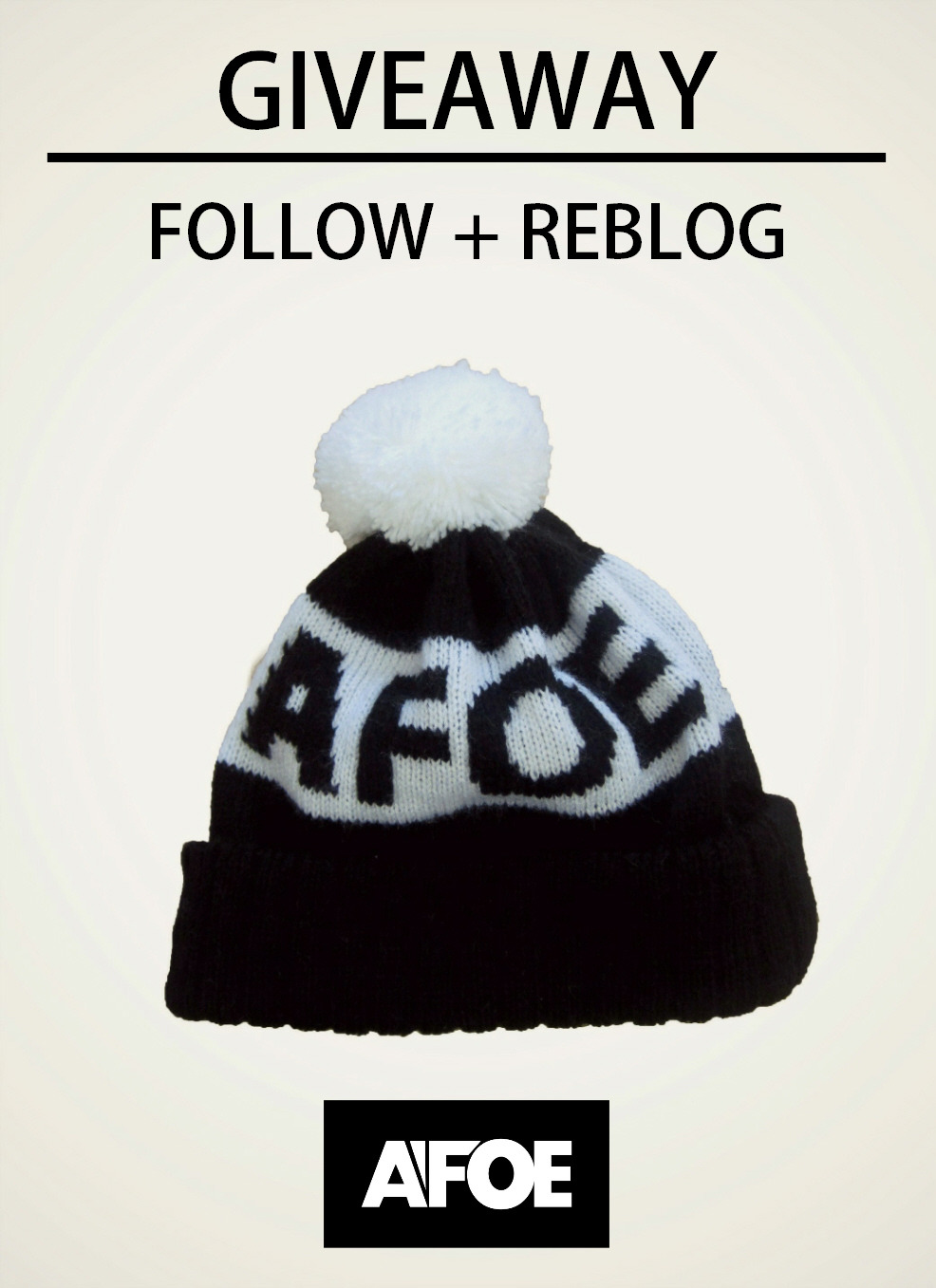 afoeclothing:  GIVEAWAY - Finishes Friday 8th Follow our blog and reblog the image for your chance to win the beanie. Good luck to everyone who enters!