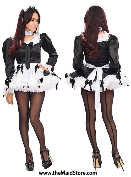 maid French maid uniform feminine fetishshelmale sissified sissifaction stockigns high heels