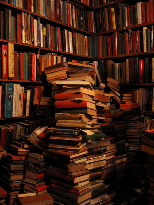 bookmania:  Tilting book stacks at a corner of shelves in Shakespeare & Co. (Photo byVictoria H.)