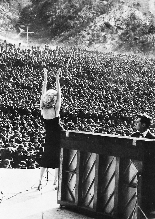 collectivehistory:  Marilyn Monroe performing for troops stationed in Korea, February 1954 (Source)