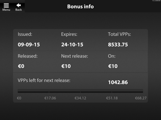 image of Betfair.com app bonus info page with progress indicator