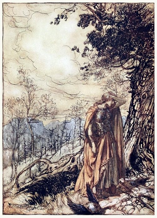 Brünnhilde stands for a long time, dazed and alarmed.  Arthur Rackham, from The Rhinegold & the Valkyrie, by Richard Wagner, London, New York, 1910.  (Source: archive.org)
