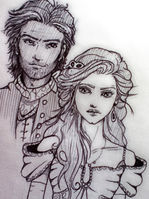 Doodle of Ginny & Steve from Rosemary Rogers' SWEET SAVAGE LOVE & DARK FIRES  Ginny should probably be sans dress…but whatever