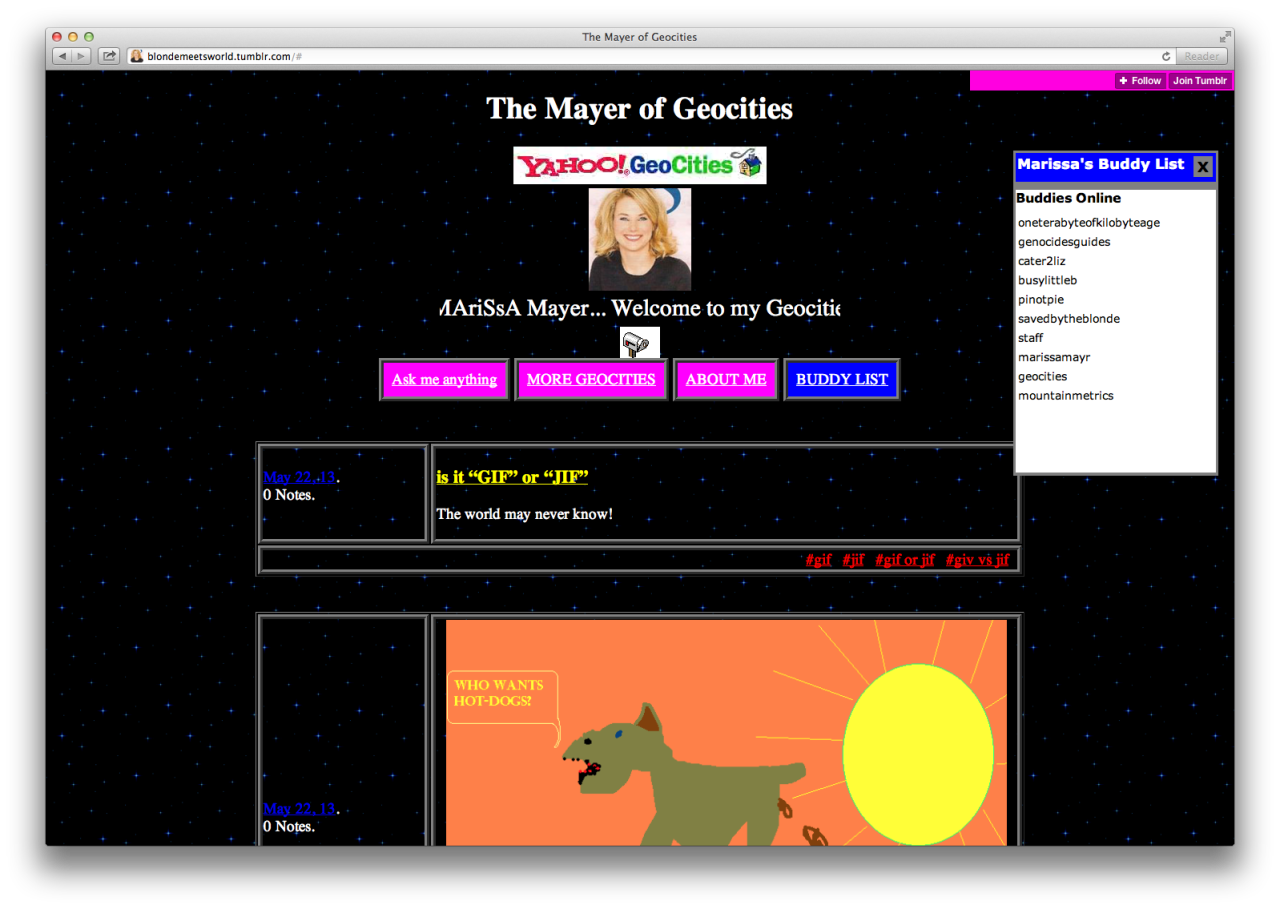 "radioon:  The first modification of my geocities theme is a huge improvement. I LOVE the ""Buddy List.""  A+"