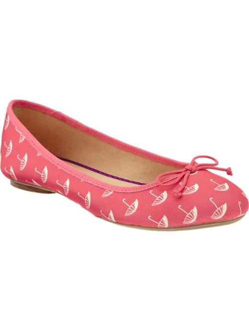 Printed Canvas Ballet Flats - $16.50, Old Navy I don't need more flats, but it's so hard to resist when they are pink and have an umbrella print.