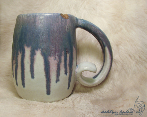 "This is a mug I made several years ago, but has been sitting in a box due to a few size-able chunks missing from the rim. Even brief looks at the piece just brought despair, because it was no longer ""perfect."" Yesterday, however, my dashboard had a post about Kintsugi, which is the Japanese art of repairing broken ceramic with a gold sprinkled resin. It made me really adore the idea of making the mishaps and mistakes a celebrated part of the piece."