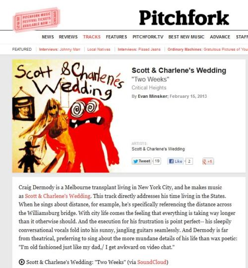 Pitchfork feature Scott & Charlene's Wedding - 'Two Weeks' @pitchforkmedia read in full here: http://pitchfork.com/reviews/tracks/14924-two-weeks/