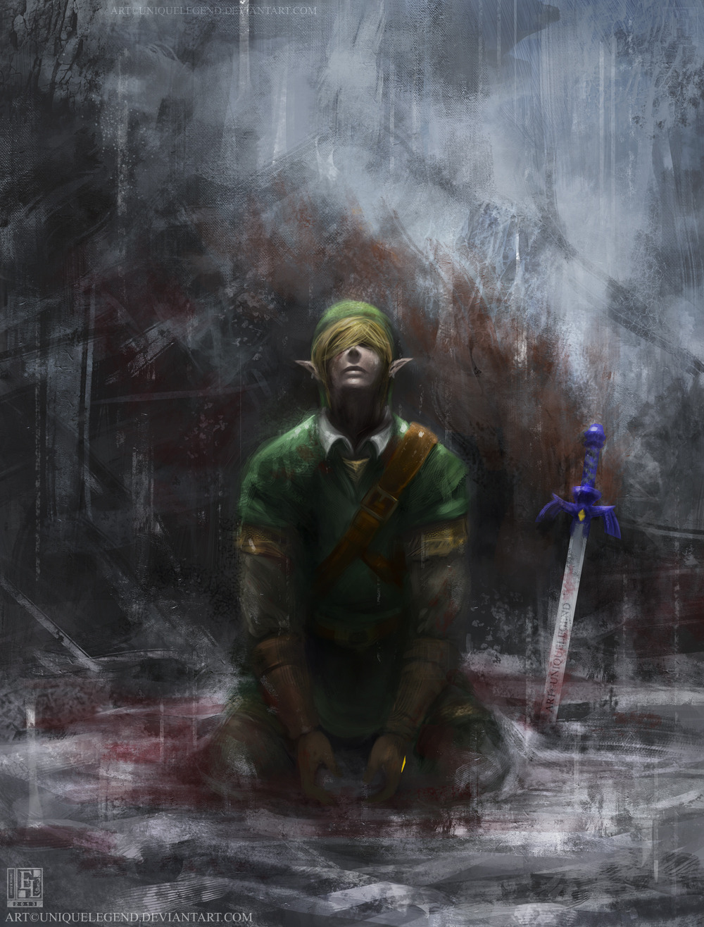 uniquelegend:  I just had to paint this. Inspired by one of the Assassin Creed official artworks found here, except I made my own version that represents the Legend of Zelda. Link has finished his adventure, with Ganon slayed in the background (as you can see his orange mane in the rain), and the Master Sword rested in the ground beside Link as he falls to his knees, looking up into the sky as it starts to rain to wash the blood, pain and evil away.I kinda wish we would get a Zelda game as mature as this, but it'll probably never happen. So all I can do is draw the scenes for my own entertainment!