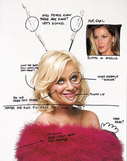 """Make eyeballs younger"", lol.   - Amy Poehler's fake photoshop notes. :) (Compare these to actual notes from an image of actress Aisha Tyler. Warning, not as funny :)"