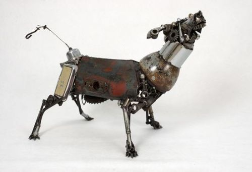 matthewloweart:  James Corbett  Upcycled from old car parts