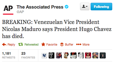 RIP Hugo Chavez. More as we get it. UPDATE: Chavez's vice president, Nicolas Maduro, says he died at 4:25 p.m. ET, according to a Bloomberg report.