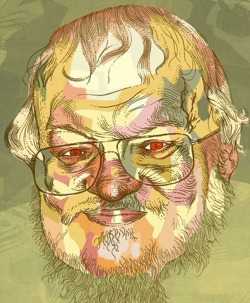 oddfox:  Dug out this old portrait of ASOIAF (Game of Thrones) author George RR Martin. I did it in preparation for a book signing he was doing here in LA, and got to give him a print in person o_O  We have a print hanging in our living room. A constant reminder that happiness is short-lived and death waits around every corner.