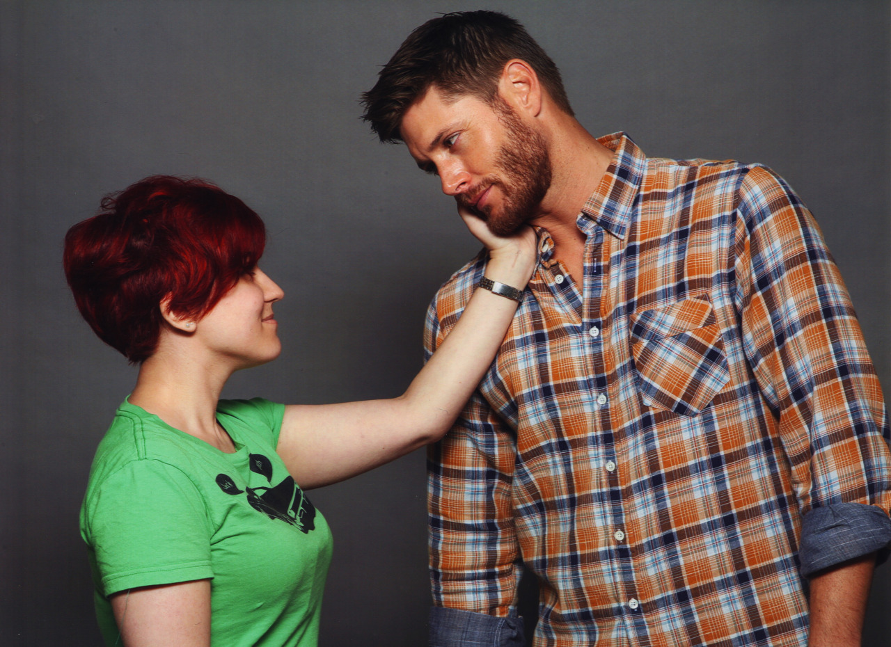"yourenotgonnadieavirgin:  Tadaaa, this is my beautiful, beautiful Jensen photo OP. Can I just say how happy I am with this. <3 I told Jensen if he knows that look that Dean always gets whenever somebody touches him affectionately, like how he kinda leans into it and looks all starved for it. Jensen immediately said ""sure, like that"" an that was it. Not sure how I survived that photo OP.  How did you get to Italy? See below, you've inspired a new tag! I love this so much!"