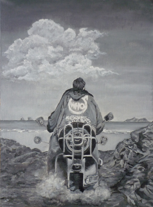 idigthe60s:   Sea and Sand2013  A Quadrophenia painting I did, because I'm really excited about 5 July : I am gonna see The Who performing Quadrophenia! :D