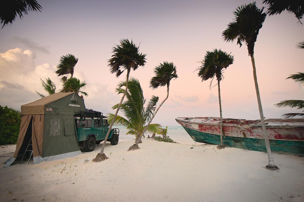 Beach camping near Tulum, Mexico.