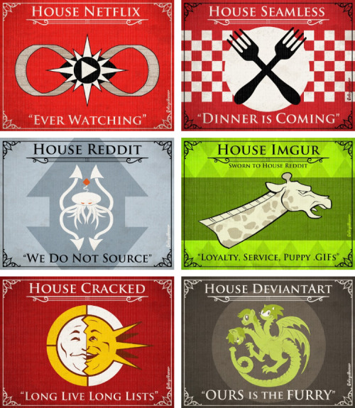 "12 Game of Thrones House Sigils for the Internet ""When you play a game of tumblr you like or reblog!"""