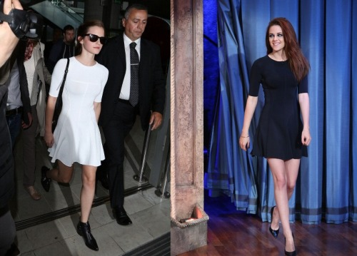 Kristen Stewart vs Emma Watson in the same A.L.C. Shelby dress (Different color) .  Who wore it better?