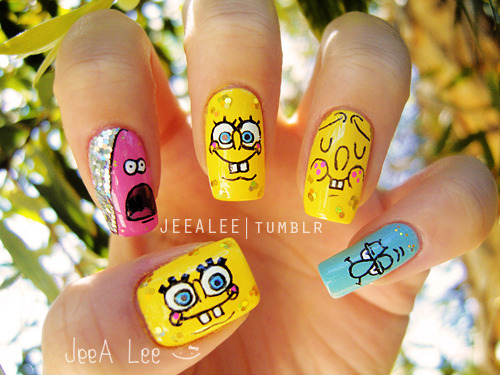 jeealee:  Spongebob Squarepants And Neighbors Nails