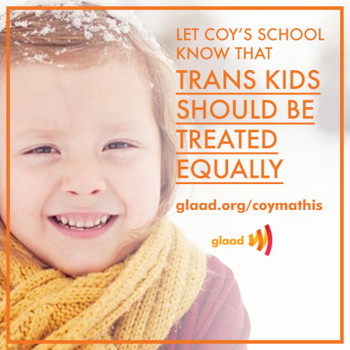 glaad:  GLAAD works with trans kids like Coy to ensure they're treated equally. Help us continue the work by pitching in on GiveOUT Day: http://www.razoo.com/story/glaad