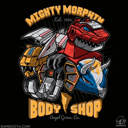 """Mighty Morphin Body Shop"" T-Shirt is now available on Redbubble! #GoGoPowerRangershttp://www.redbubble.com/people/bamboota/works/9853640-mighty-morphin-body-shopPlease visit me on Facebook!  https://www.facebook.com/BamsArtandStuff"