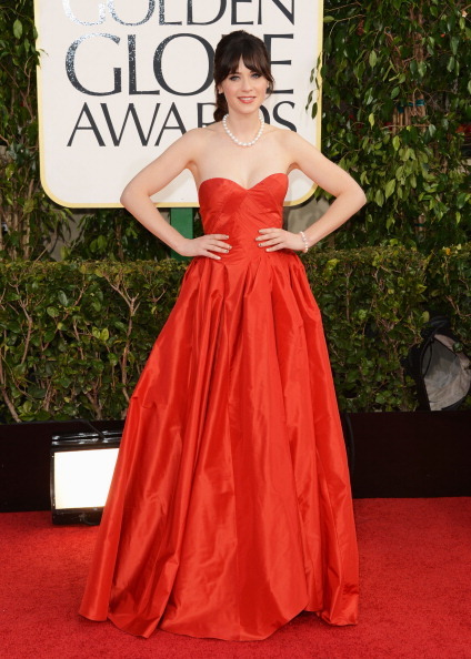 Golden Globes 2013 Zooey Deschanel in Oscar de la Renta