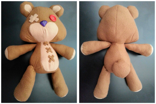 "Prototype of the large tibbers plush is back on ebay. I'm currently working on a finalized batch of 3 large and 8 regular Tibbers plushies for fanime — any leftovers will be posted on my Etsy shop (Coming soon!). The large size is 20"" and the regular size will be 12"". This prototype is about 19"" from ear to toe, and you can bid on him here!"