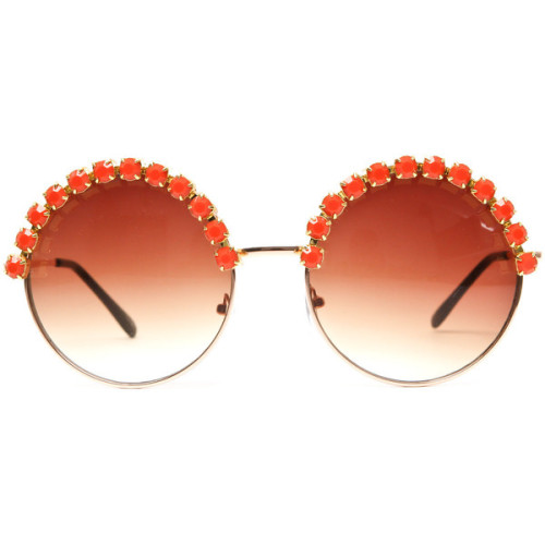 willowsociety:  Angela Coral Rhinestone Large Round Half Studded Sunglasses (Coral/Gold)   ❤ liked on Polyvore (see more studded sunglasses)