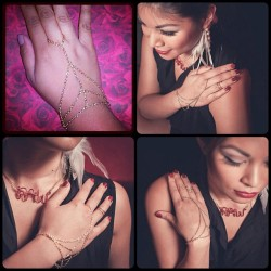 **NOW AVAILABLE** Pyramid Chain Hand Harness by @giannecreations! Purchase yours today on giannecreations.etsy.com! #giannecreations #handharness #slavebracelet