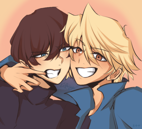 i've probably made something similar to this but #yugioh#kaiba seto#jounouchi katsuya#violetshipping#[myart] #can i call this a sketch  #i spent most of the time on their faces everything else was an afterthought