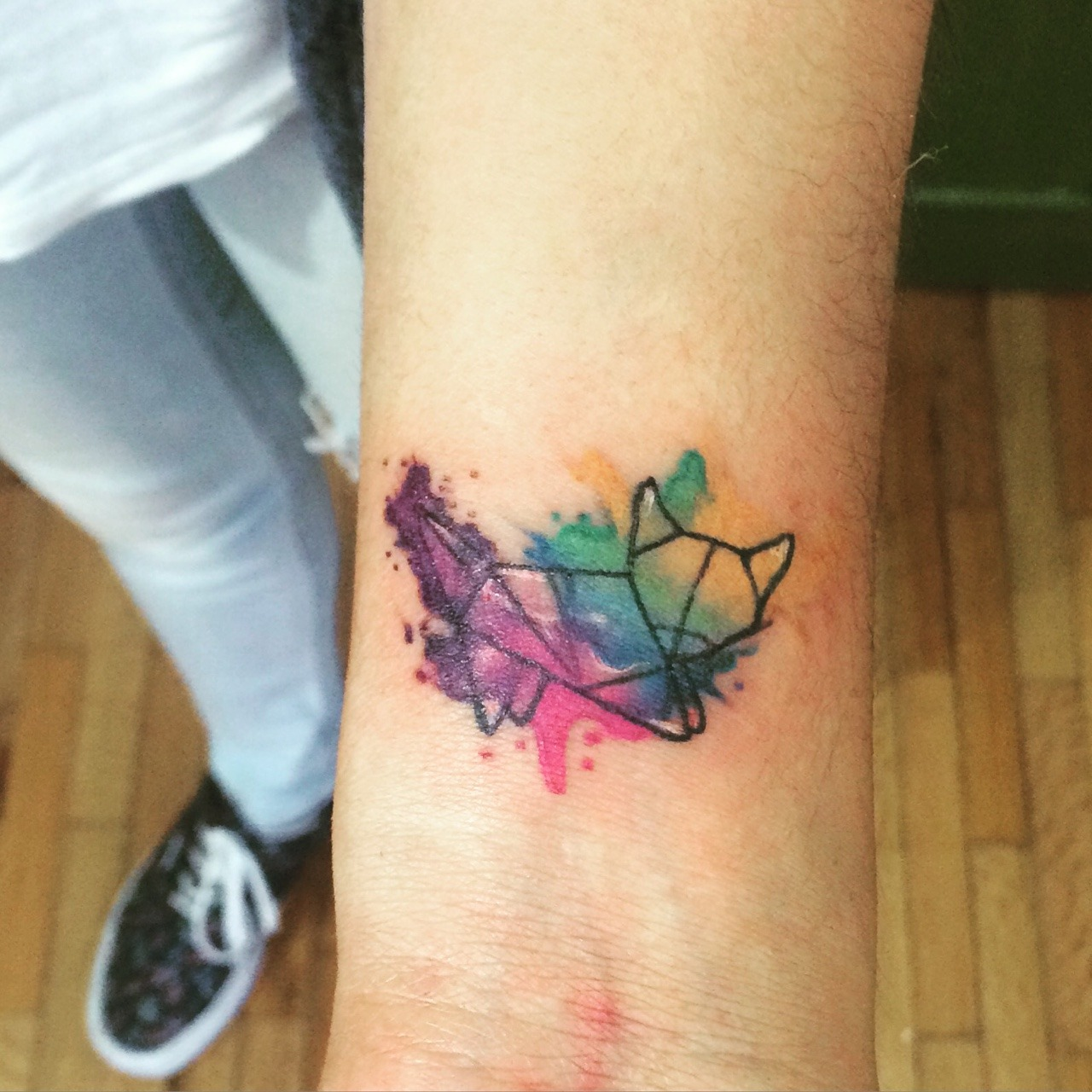 Watercolor origami cat for my client i had fun for Watercolor cat tattoo