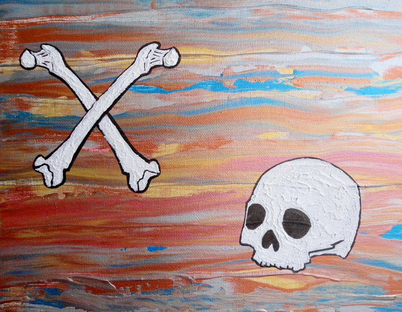 "Bones #3 - XO - 11""x14"" - Acrylic on Canvas"
