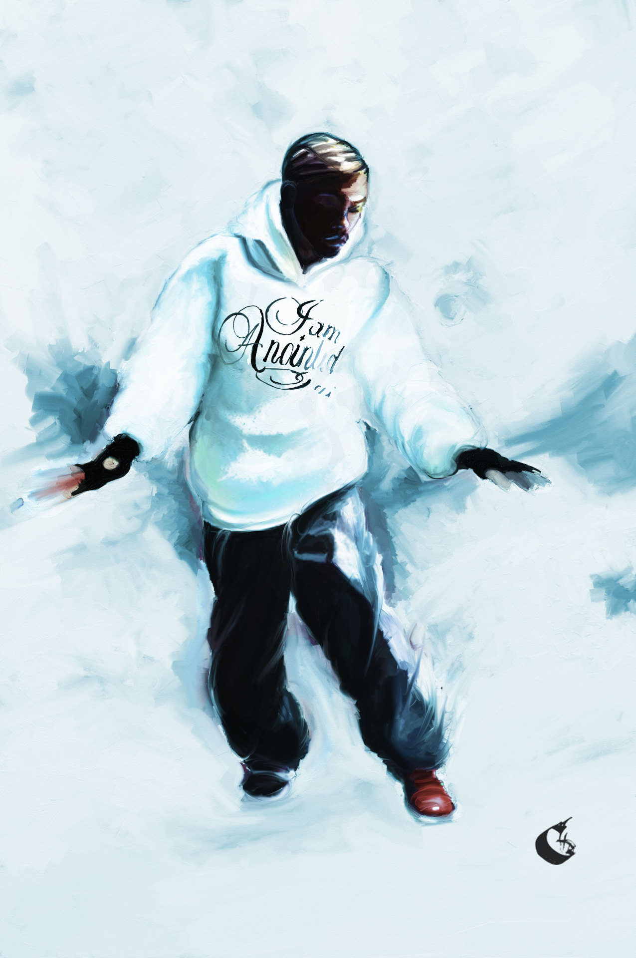 """Chozen One""  this was one of my first iphone paintings, it features the homie ""Chozen Boy""  This was the one that got me hooked on trying to capture the motion and movements of a dancer with paint & ink"