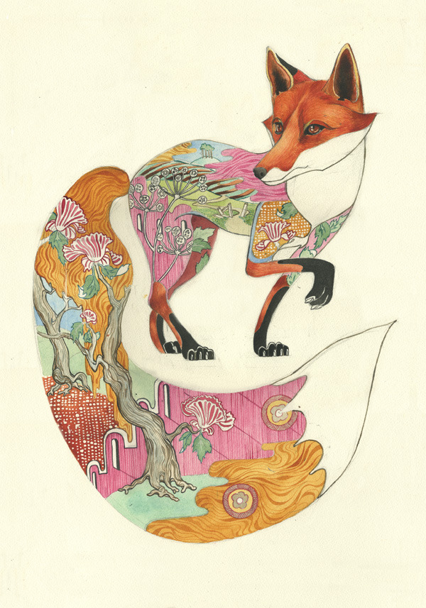 Daniel Mackie - Red Fox                  Paintings: Watercolorshttp://www.thedmcollection.com/product/red-fox-print