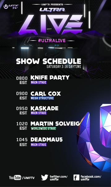 Deadmau5 - Next up on #UltraLIVE is @HARDWELL followed by @Carl_Cox, @kaskade, @martinsolveig, and @